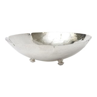 1980s Hand Hammered Silver-Plate Bowl For Sale