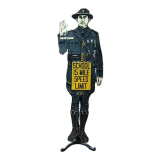Antique Police Officer School Speed Limit Sign For Sale