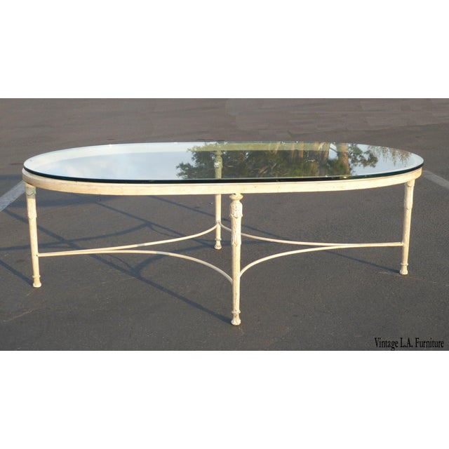 Vintage French Country Style Oval Off-White Iron Glass Top Coffee Table - Image 2 of 10