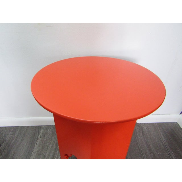 Contemporary Moroccan Style Wood Table , New Orange Lacquer Finish For Sale - Image 3 of 5