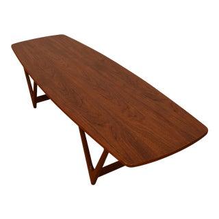 "Danish Teak Bowed Shape ""V-Leg Coffee Table For Sale"