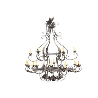 1950's Monumental Italian Hand Wrought Chandelier For Sale