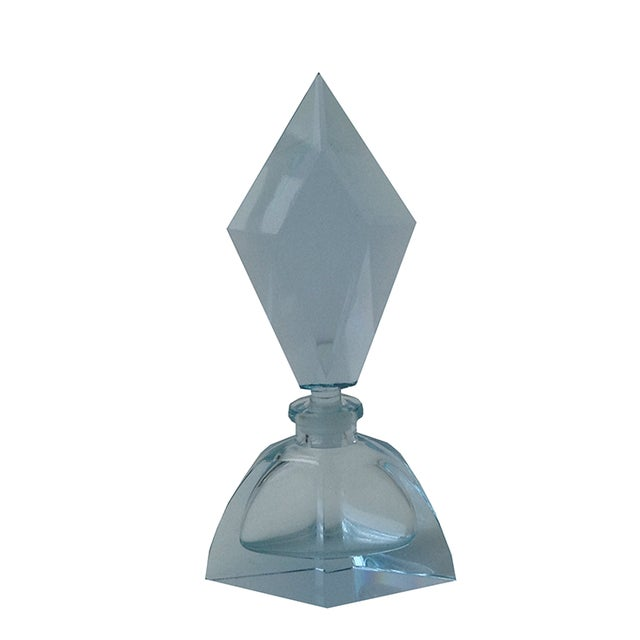 Czechoslovakian Light Blue Faceted Perfume Bottle - Image 1 of 11