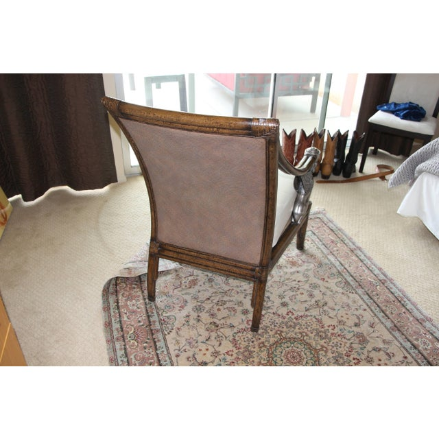 Egyptian Revival Egyptian Revival Cane and Leather Armchair With Sphinx Arms For Sale - Image 3 of 10
