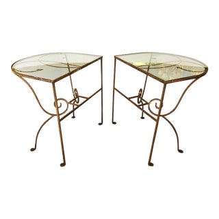 Antique Rustic Wrought Iron Demi Lune Tables With Glass Tops - a Pair For Sale
