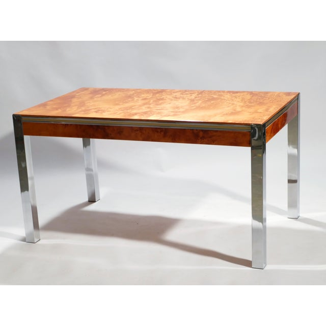 Mid-Century Modern Willy Rizzo Burl Chrome Brass Dining Table, 1970s For Sale - Image 3 of 11