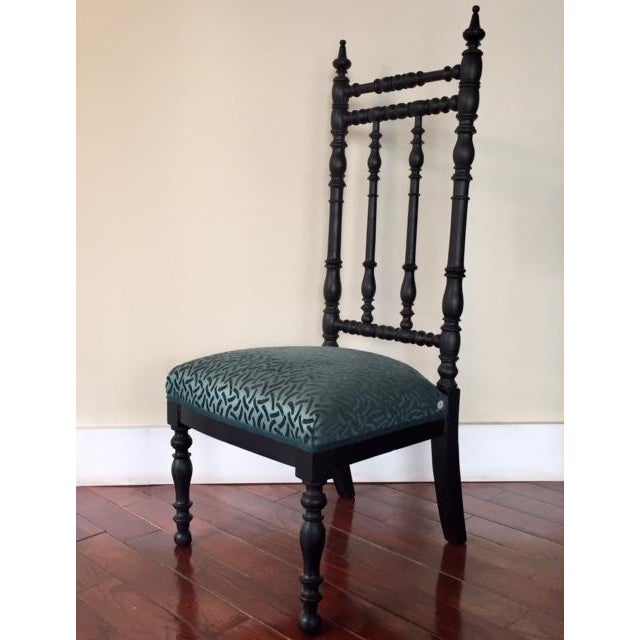 Boho Chic 19th Century Napoleon III Era French Black and Aquamarine Chimney Chair For Sale - Image 3 of 11
