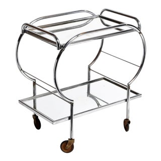 Hungarian Mid-Century Modern Chrome Serving Cart For Sale