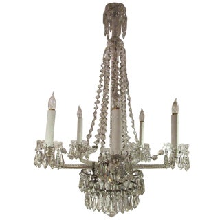 Large Unusual Crystal Chandelier, Early 20th Century For Sale