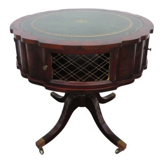 Flame Mahogany Leather Top Round Center Side Lamp Table For Sale
