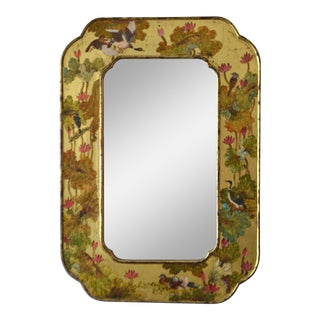 Hollywood Regency Hand-Painted Giltwood Wall Mirror For Sale