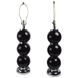 Pair of Black Chrome Ball Lamps by Kovacs For Sale