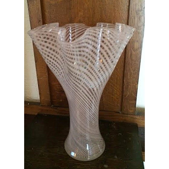 Italian Vintage Swirl Glass Handkerchief Vase For Sale - Image 3 of 5
