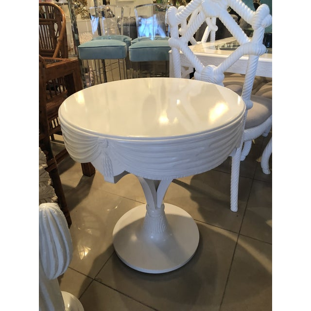 White Vintage Grosfeld House White Lacquered Tassel Wood Entry Center Side Table For Sale - Image 8 of 9