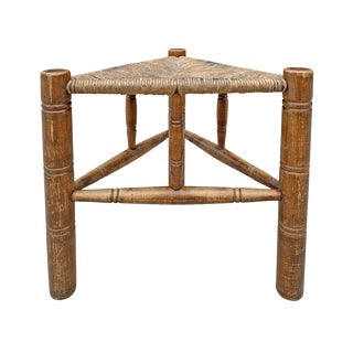 Early 20th Century Vintage Three-Legged Stool For Sale