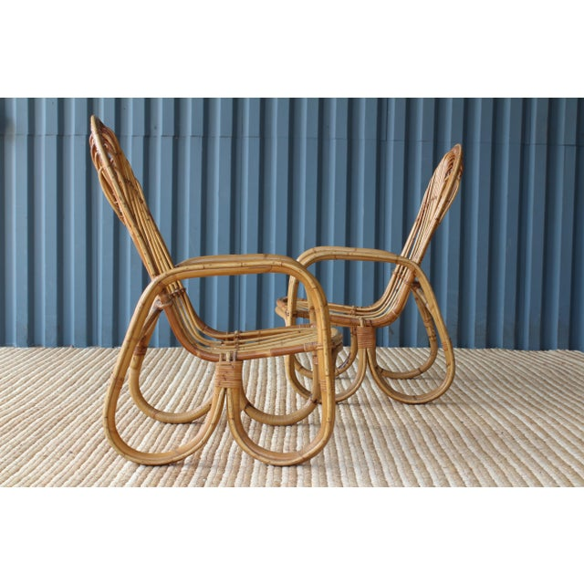 1960s Pair of Bamboo Armchairs in the Style of Franco Albini, 1960s, Italy For Sale - Image 5 of 11