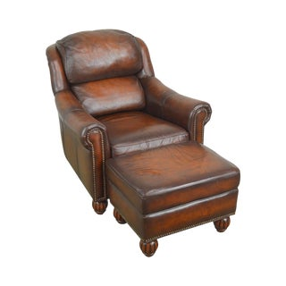 Brown Leather Club Chair With Ottoman Latitudes Collection by Flexsteel For Sale