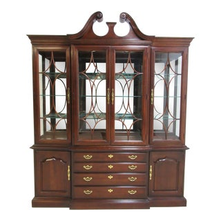 Chippendale Thomasville China Cabinet Breakfront Hutch For Sale
