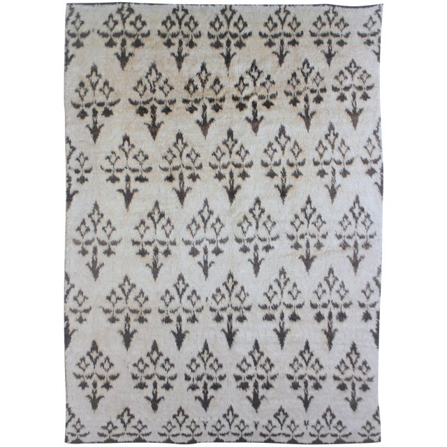 """Hand Knotted Ikat Rug by Aara Rugs- 10'10"""" x 8'3"""" For Sale"""