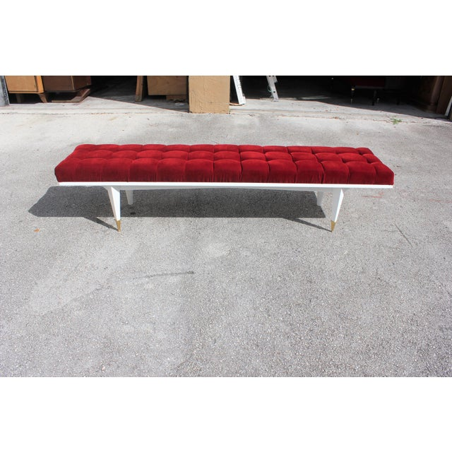 Art Deco French Art Deco Snow White Lacquered Long Sitting Bench, circa 1940s For Sale - Image 3 of 11