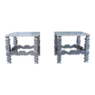 Italian Marble Top Side Tables - a Pair For Sale