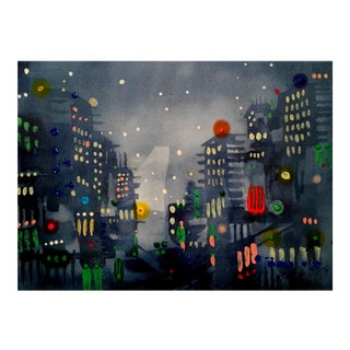 """City Lights 2"" Original Watercolor Painting For Sale"
