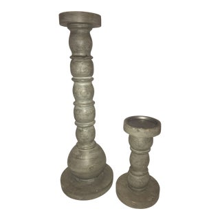 Julia Buckingham Bauble Wood Candlesticks - a Pair For Sale