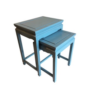 Chinese Blue Lacquered Nesting Side Tables - Set of 2 For Sale