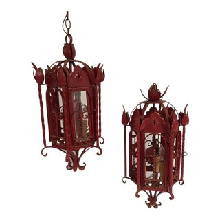Spanish Style Wrought Iron Lanterns - A Pair For Sale