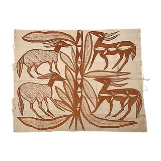 African Painted Mud Cloth Textile For Sale