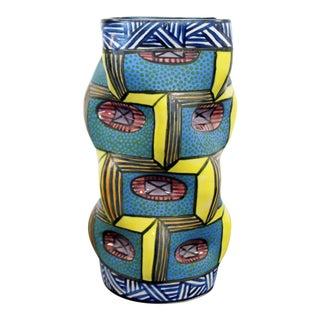 1990s Contemporary Modern Memphis Signed Ceramic Art Vase Vessel George Bowes For Sale