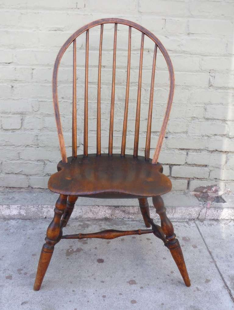 Exaggerated Saddle Seat   18th C. Bow Back Windsor Side Chair   Image 7
