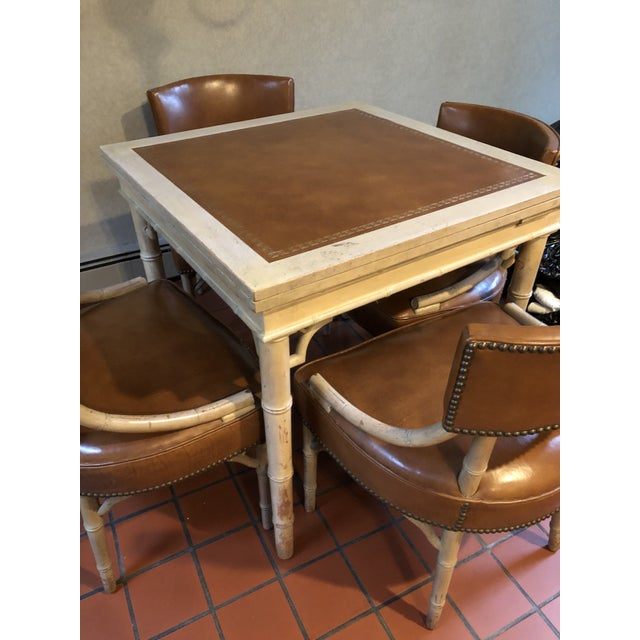 Vintage Game and Card Table With Chairs For Sale - Image 9 of 13