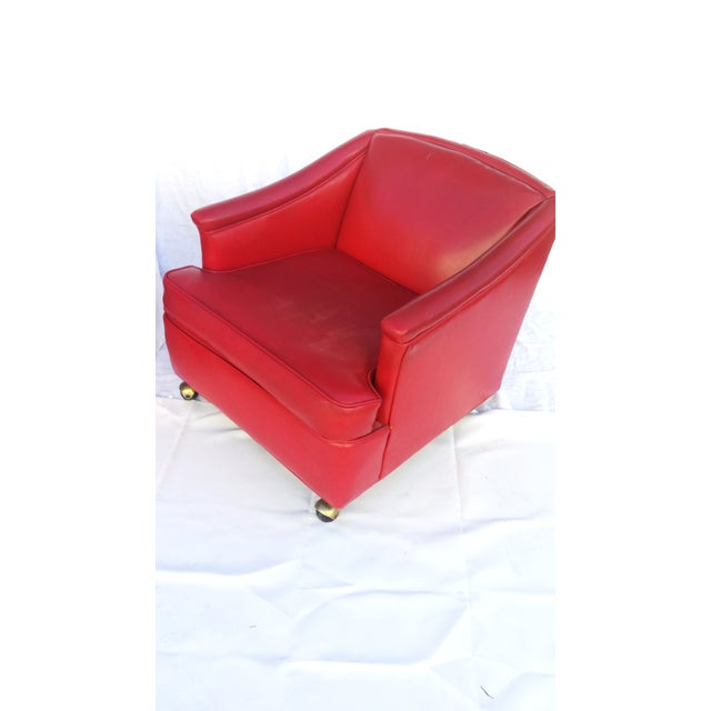 Lipstick Red Vinyl Club Chairs - A Pair For Sale - Image 4 of 11
