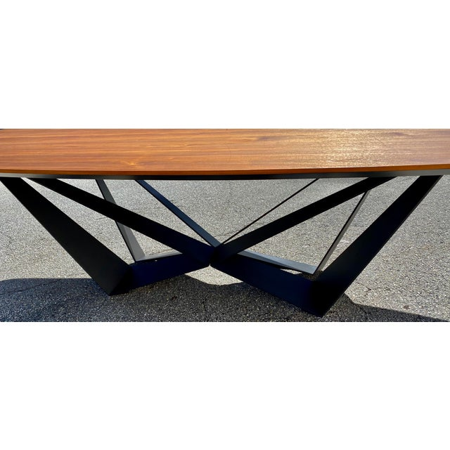 Walnut Dining Table With Stainless Steel Powder Coated Base For Sale In West Palm - Image 6 of 9