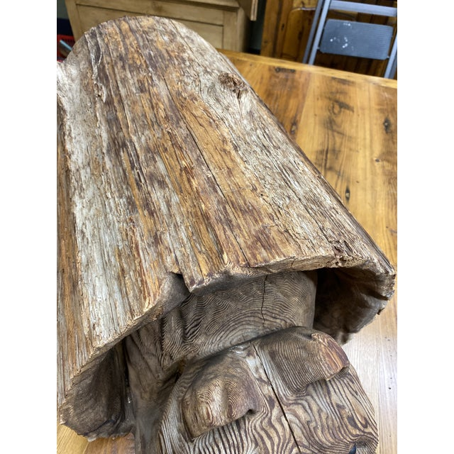 Vintage Wood Carving of Cub Bear Coming Out of a Log For Sale In New York - Image 6 of 9