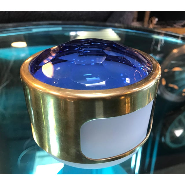 Gold Round Brass Decorative Box With Blue Glass , Italy 1960s For Sale - Image 8 of 8