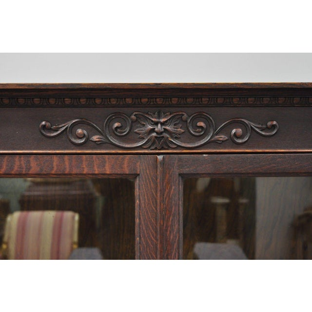 Traditional Victorian Oak Glass Two Door Bookcase With Claw Feet Lion For Sale - Image 3 of 13