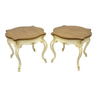 20th Century French Louis XV Regency Karges Burr Walnut Turtle Top End Tables - a Pair For Sale