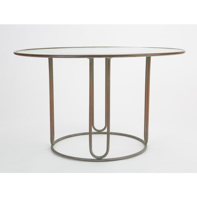 Mid-Century Modern Round Patio Table With Oxidized Bronze Frame by Walter Lamb for Brown Jordan For Sale - Image 3 of 13