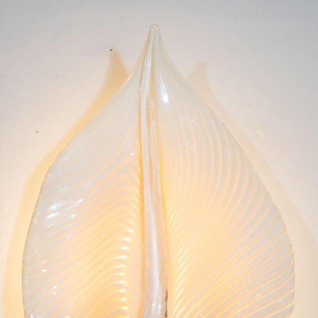Metal Pair of Handblown Murano Honeycomb Leaf Sconces With Brass Detailing For Sale - Image 7 of 11