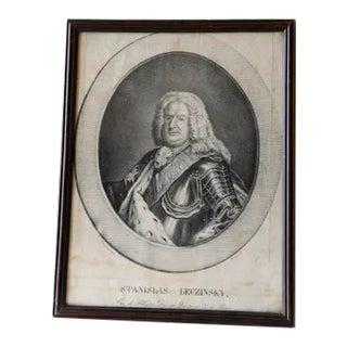 18th Century Gravure of Stanislas i Framed Portarait For Sale