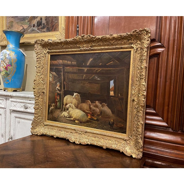 Canvas 19th Century Dutch Sheep Painting in Carved Gilt Frame Signed Frans Lebret For Sale - Image 7 of 13