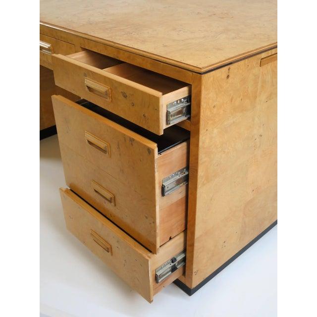 Henredon Henredon Scene Two Executive Desk in Burl Wood For Sale - Image 4 of 12