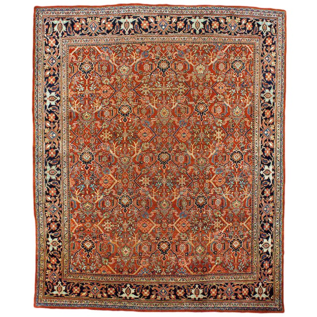 Antique Mahal Rug - 11′6″ × 13′6″ For Sale