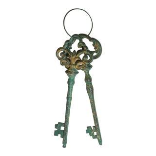 Decorative Cast Iron Skeleton Keys - a Pair For Sale