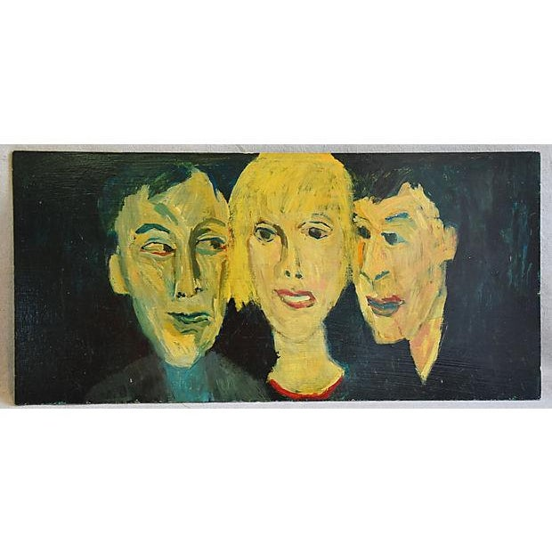 Midcentury Williard Wiener, Abstract Trio of Portraits Oil Painting - Image 6 of 6