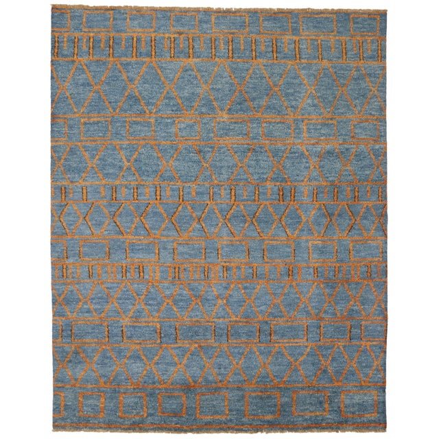 80376 Orange and Blue Moroccan Style Rug With Modern Design. Highly stylish yet casually elegant, this orange and blue...