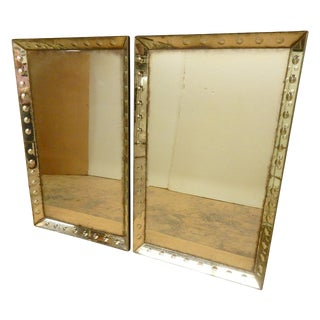 1930/40's Glass Framed Mirrors - a Pair For Sale
