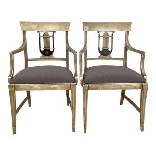 1940s Hollywood Regency Gray and Black Painted Armchairs - a Pair For Sale